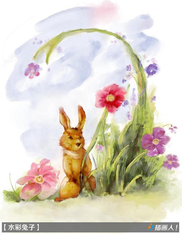 中国风水彩爱丽丝梦游仙境兔子先生