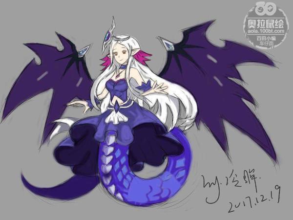 奥拉星板绘 暗翼女神