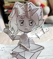 无冕坐飞机(3D可动纸人)