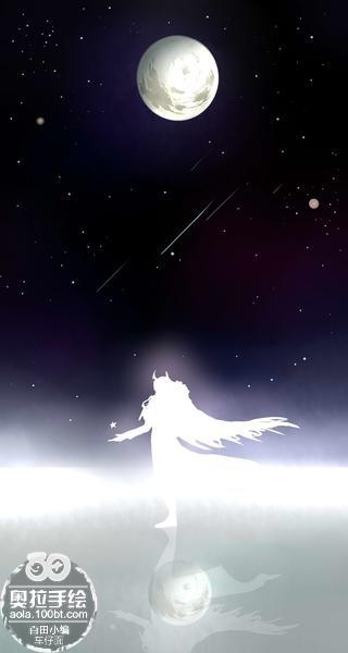 奥拉星手绘 【黑翼】月下
