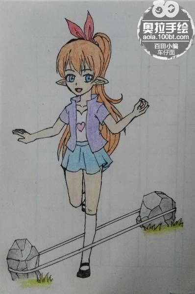 奥拉星手绘 青春少女跳皮筋套装