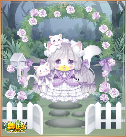 奥比岛花语萌猫装