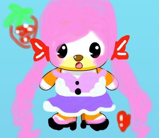 奥比岛爱心草莓粉萌可爱少女套装_百田涂鸦板_百田网