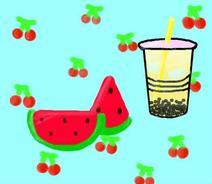 清凉夏日的西瓜奶茶❤~
