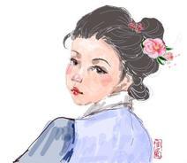 明代女子小像,第一次画