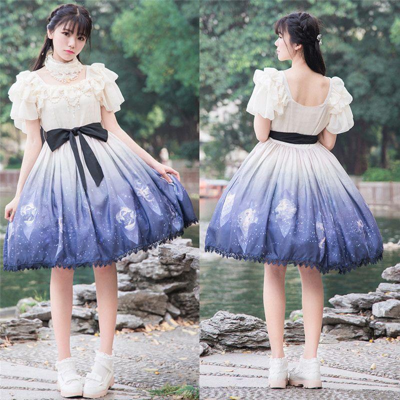夏季软妹风星屑雪纺op连衣裙女气质甜美公主lolita洋装日常小礼服