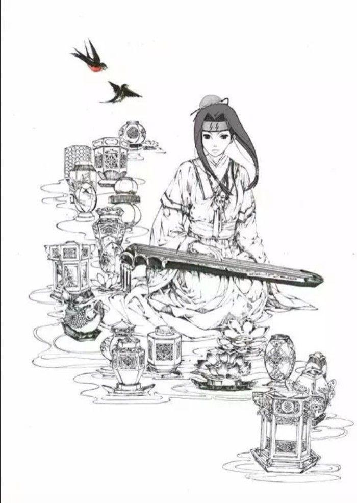 汉服手绘设计图铅笔稿