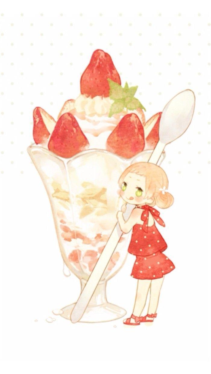 手绘女孩与杯子沙冰卡通插画绘画食物杯子玻璃杯甜品草莓沙冰勺子女孩手绘可爱儿童插画可爱卡通素材
